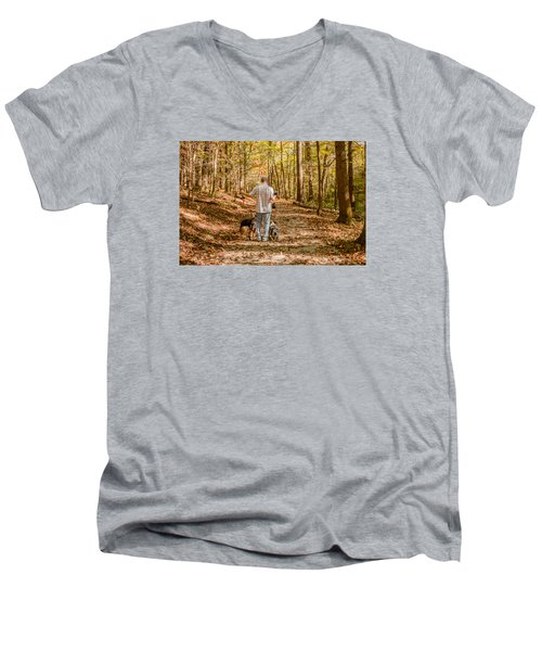 A Walk In The Woods Men's V-Neck T-Shirt by Cathy Donohoue