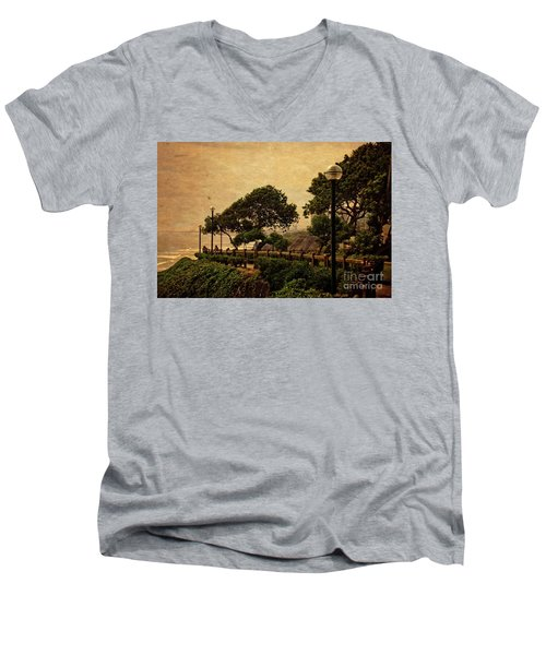 Men's V-Neck T-Shirt featuring the photograph A Walk On The Edge - Peru by Mary Machare