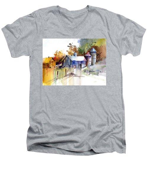 A Walk To The Barn Men's V-Neck T-Shirt