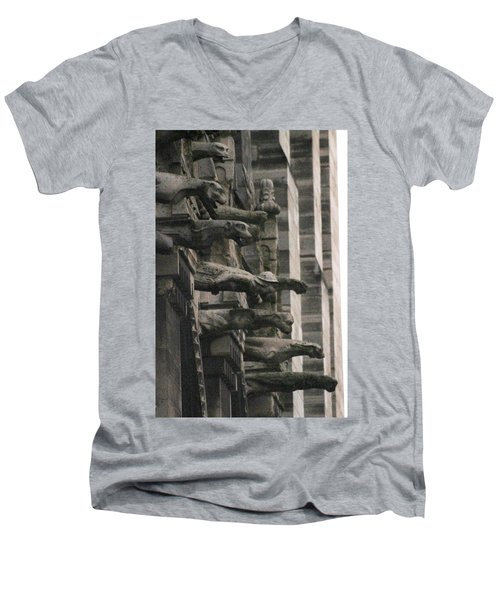 A Wall Of Gargoyles Notre Dame Cathedral Men's V-Neck T-Shirt by Christopher Kirby