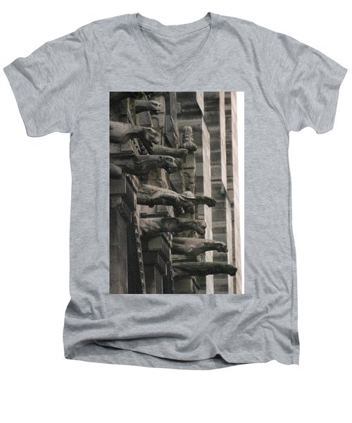 A Wall Of Gargoyles Notre Dame Cathedral Men's V-Neck T-Shirt