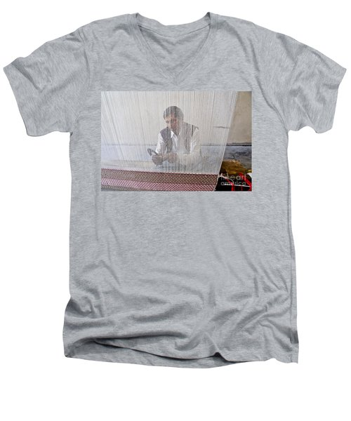 A Weaver Weaves A Carpet. Men's V-Neck T-Shirt