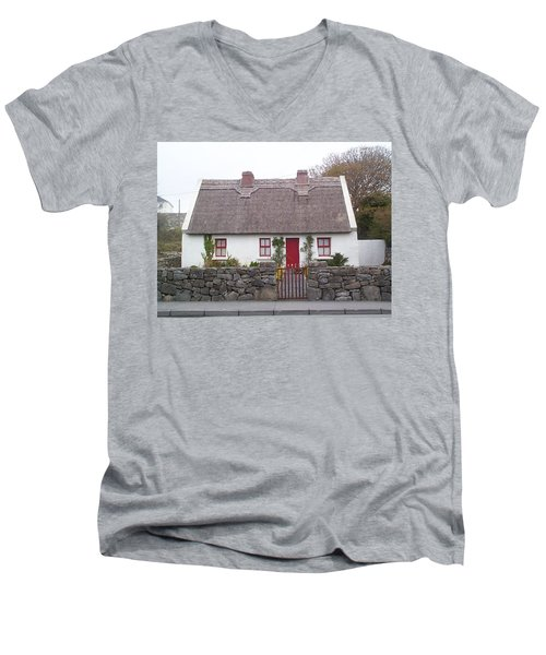 Men's V-Neck T-Shirt featuring the photograph A Wee Small Cottage by Charles Kraus