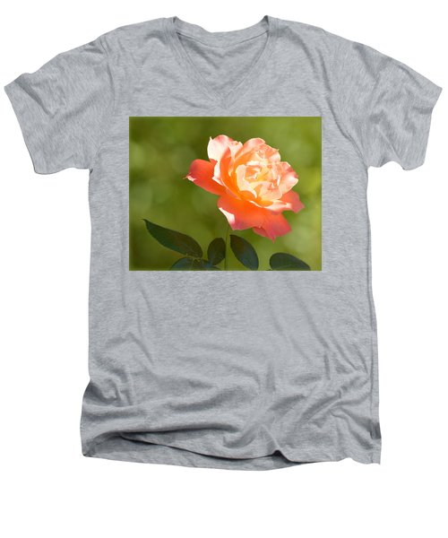 Men's V-Neck T-Shirt featuring the photograph A Well Lighted Rose by AJ Schibig