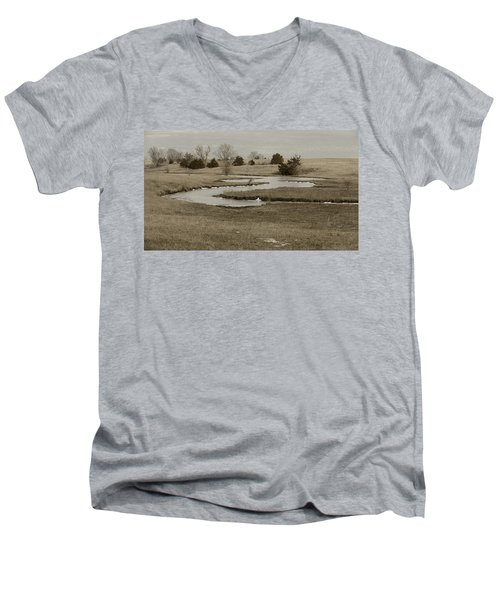 A Winding Creek In Winter As Geese Fly Overhead Men's V-Neck T-Shirt