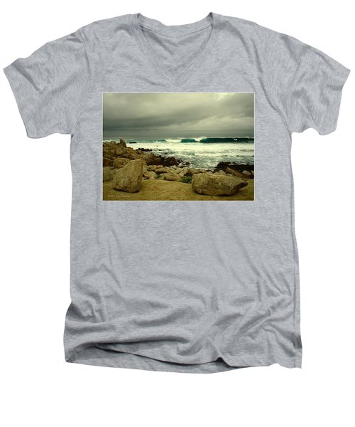 Men's V-Neck T-Shirt featuring the photograph A Winter Day At The Beach by Joyce Dickens
