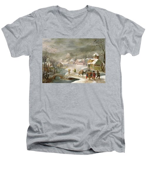 A Winter Landscape With Travellers On A Path Men's V-Neck T-Shirt by Denys van Alsloot