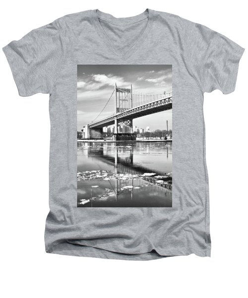 A Winter Portrait Of The Triboro Bridge Men's V-Neck T-Shirt