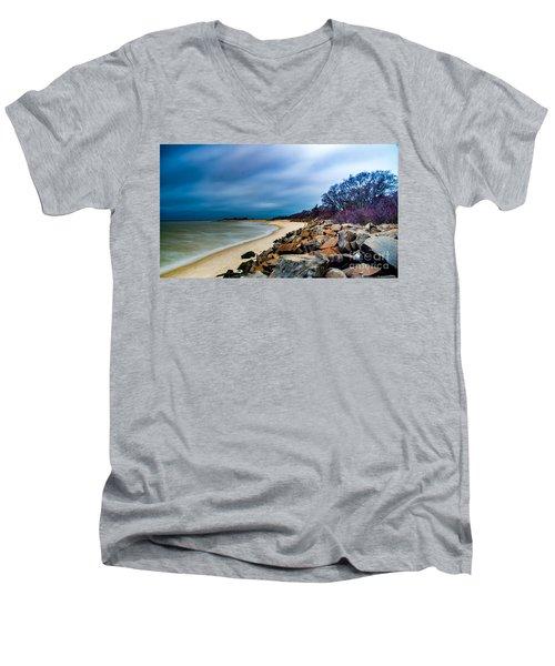 A Winter's Beach Men's V-Neck T-Shirt