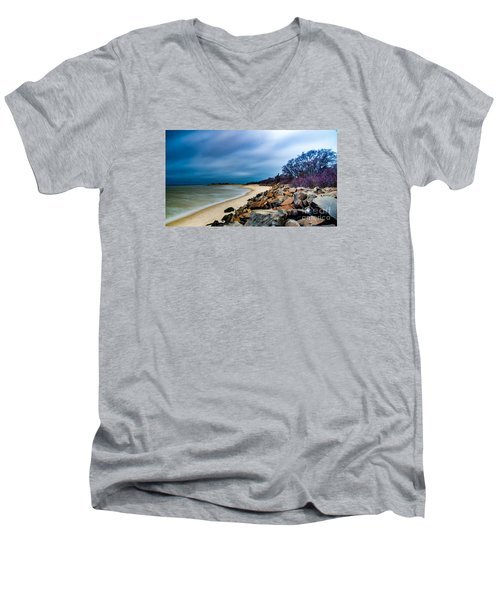 A Winter's Beach Men's V-Neck T-Shirt