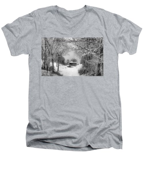 A Winter's Tale In Centerport New York Men's V-Neck T-Shirt