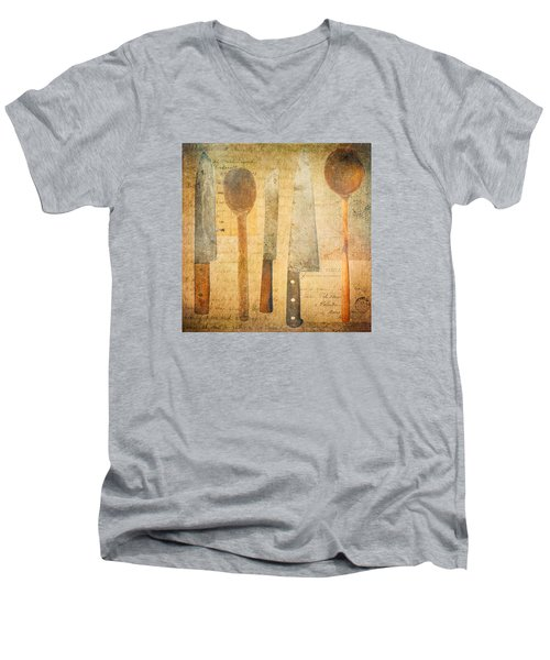 Men's V-Neck T-Shirt featuring the digital art A Woman's Tools by Lisa Noneman