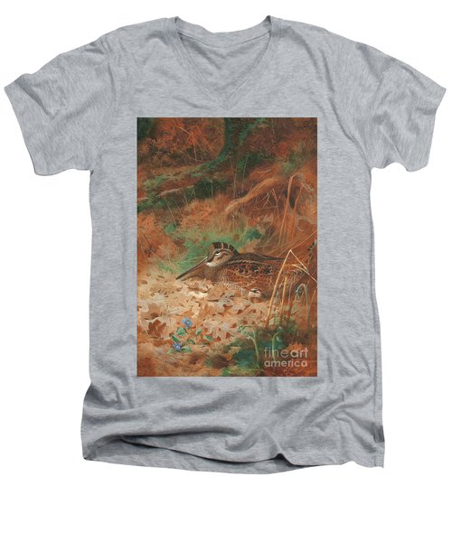 A Woodcock And Chick In Undergrowth Men's V-Neck T-Shirt by Archibald Thorburn