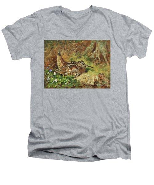 A Woodcock And Chicks Men's V-Neck T-Shirt by Archibald Thorburn