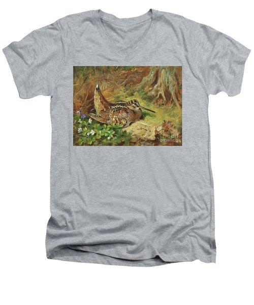 A Woodcock And Chicks Men's V-Neck T-Shirt