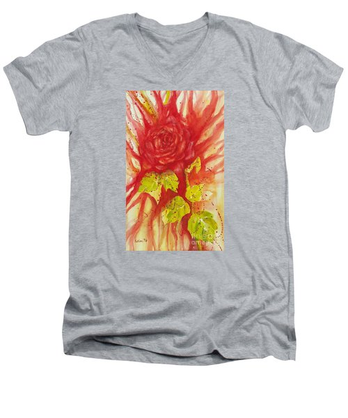 Men's V-Neck T-Shirt featuring the painting A Wounded Rose by Kathleen Pio