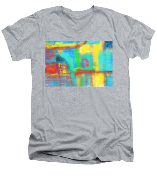 Men's V-Neck T-Shirt featuring the painting A Yellow Day by Susan Stone