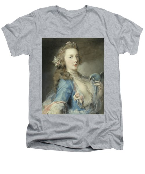 A Young Lady With A Parrot Men's V-Neck T-Shirt