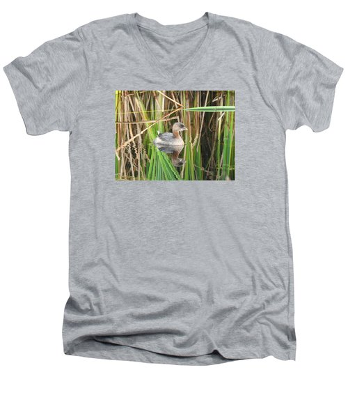A Young Pied-billed Grebe And Its Reflection Men's V-Neck T-Shirt by Janice Adomeit