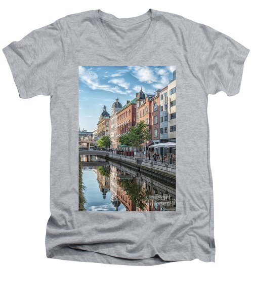 Men's V-Neck T-Shirt featuring the photograph Aarhus Afternoon Canal Scene by Antony McAulay