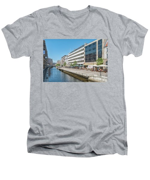 Men's V-Neck T-Shirt featuring the photograph Aarhus Canal Activity by Antony McAulay