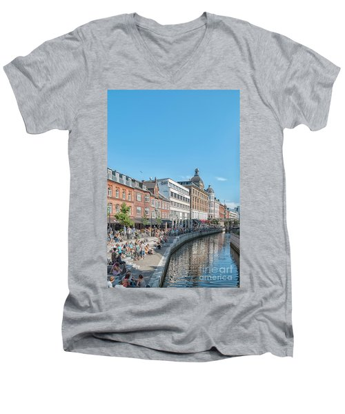 Men's V-Neck T-Shirt featuring the photograph Aarhus Summertime Canal Scene by Antony McAulay