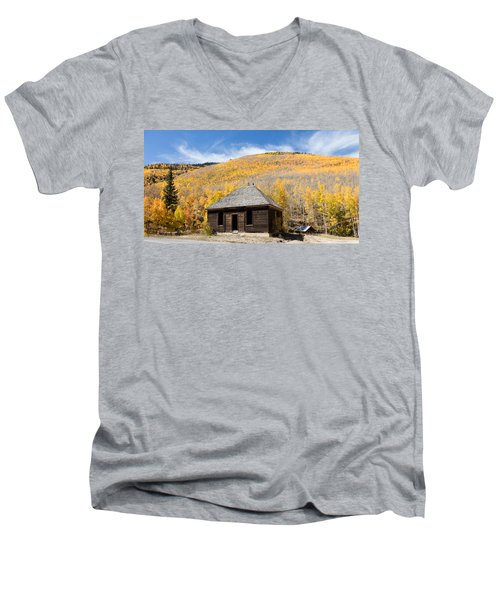Men's V-Neck T-Shirt featuring the photograph Abandoned Cabin Near The Old Mining Town Of Ironton by Carol M Highsmith