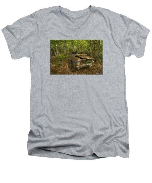 Abandoned Chevelle In Cape Breton Men's V-Neck T-Shirt by Ken Morris