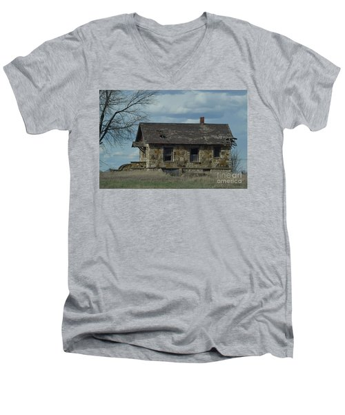 Men's V-Neck T-Shirt featuring the photograph Abandoned Kansas Stone House by Mark McReynolds