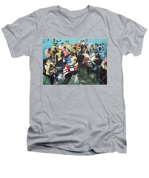Men's V-Neck T-Shirt featuring the painting Abandoned Souls by Eric Kempson