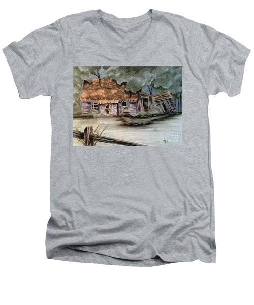 Men's V-Neck T-Shirt featuring the drawing Abandoned by Terri Mills