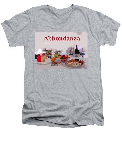 Men's V-Neck T-Shirt featuring the mixed media Abbondanza by Charles Shoup