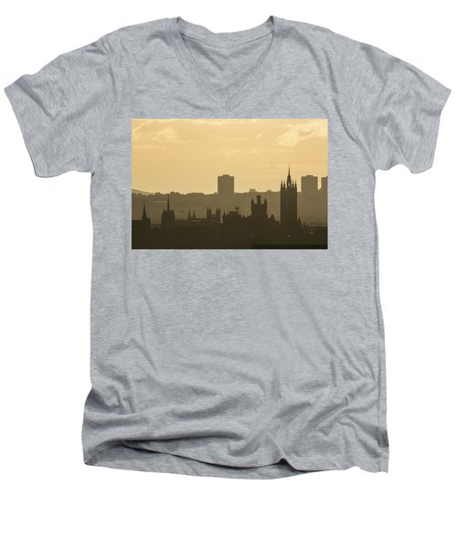 Aberdeen Skyline Silhouettes Men's V-Neck T-Shirt