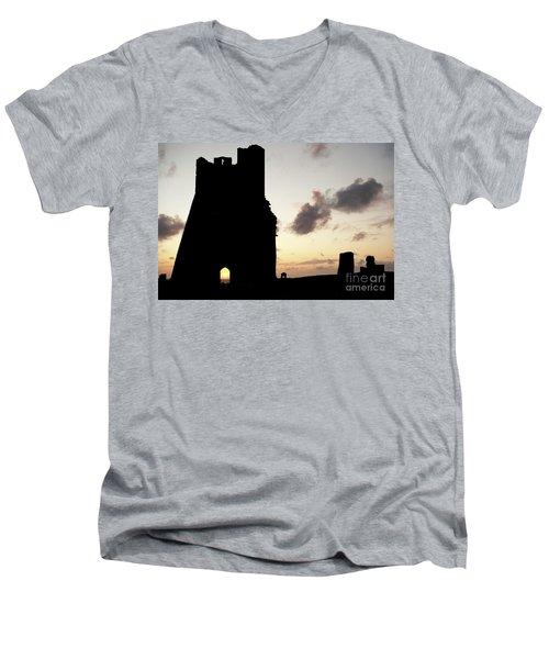 Aberystwyth Castle Tower Ruins At Sunset, Wales Uk Men's V-Neck T-Shirt