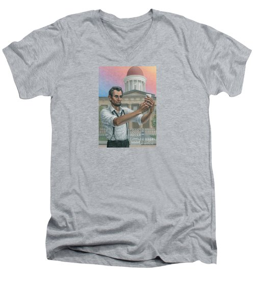 Men's V-Neck T-Shirt featuring the painting Abe's 1st Selfie by Jane Bucci