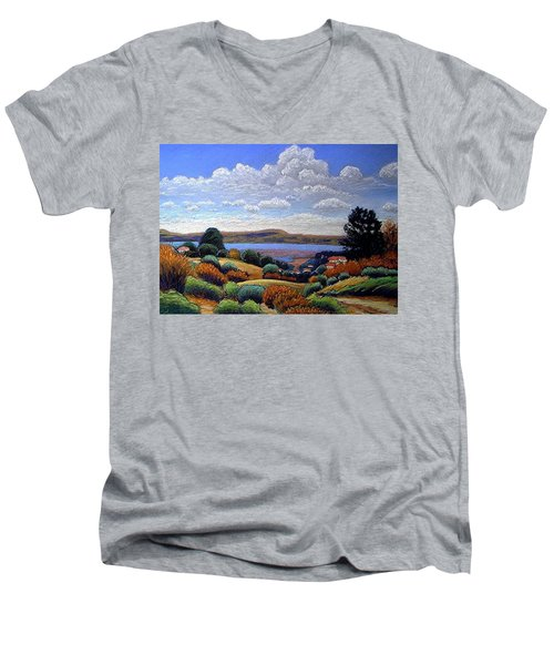 Men's V-Neck T-Shirt featuring the painting Above San Mateo by Gary Coleman