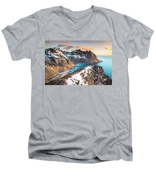 Above The Beach Men's V-Neck T-Shirt by Alex Conu