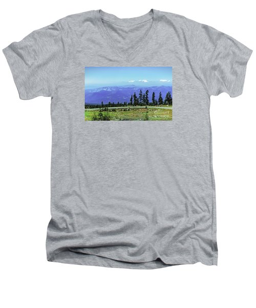 Men's V-Neck T-Shirt featuring the photograph Above The Smoke by Nancy Marie Ricketts