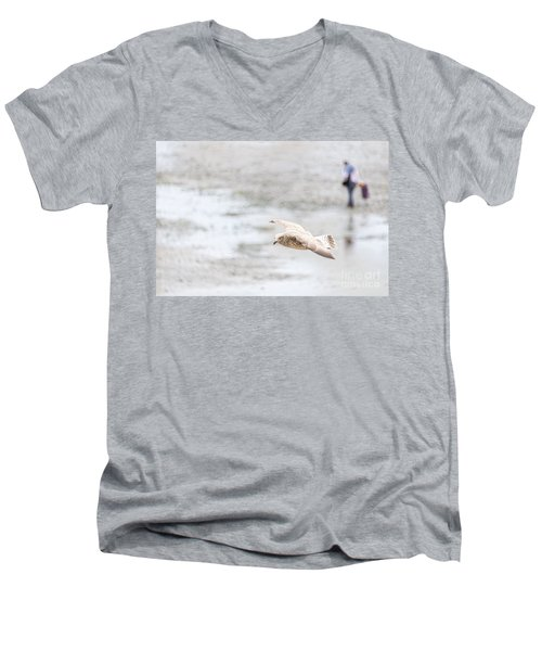 Men's V-Neck T-Shirt featuring the photograph Above The Watten Sea 2 by Hannes Cmarits