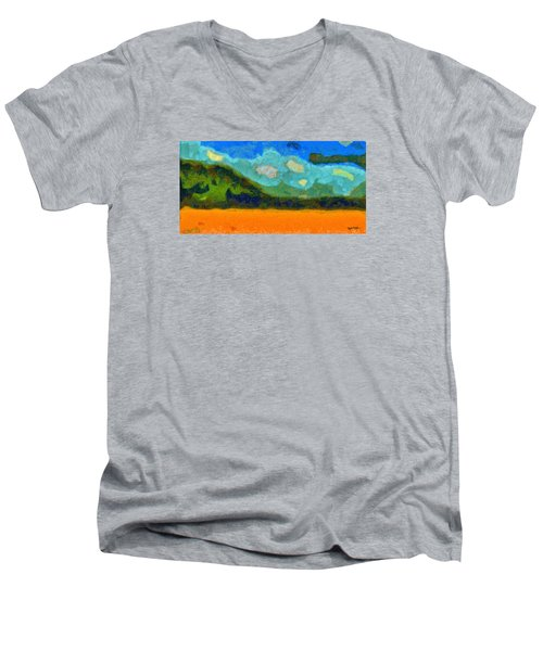 Men's V-Neck T-Shirt featuring the digital art Above The Woods by Spyder Webb