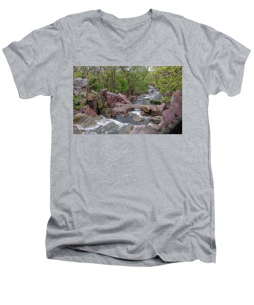 Above Winnewissa Falls 2 Men's V-Neck T-Shirt