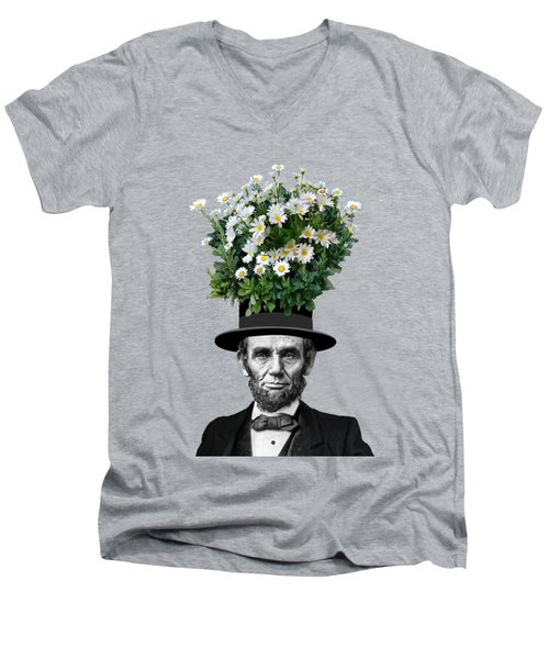 Abraham Lincoln Presidential Daisies Men's V-Neck T-Shirt by Garaga Designs