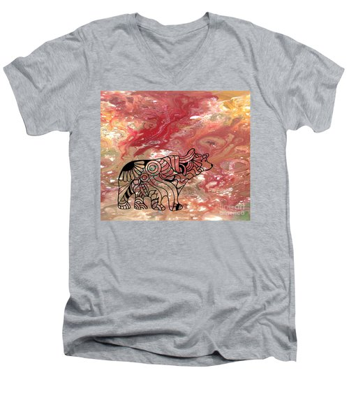 Abstract Acrylic Painting Bear And Zentangle Art Men's V-Neck T-Shirt
