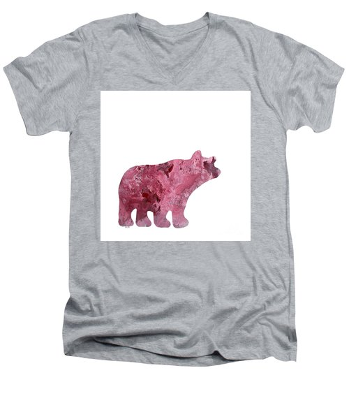 Abstract Acrylic Painting Bear Men's V-Neck T-Shirt