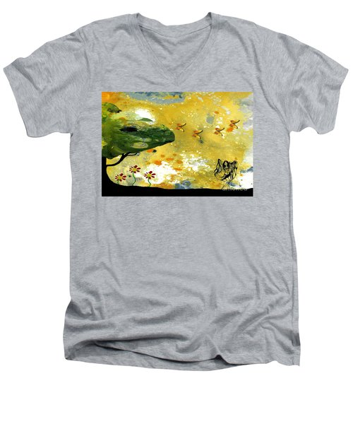 Abstract Acrylic Painting Spring Dance Men's V-Neck T-Shirt by Saribelle Rodriguez