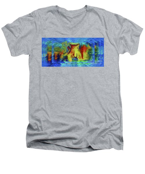 Abstract Artgo With The Flow Men's V-Neck T-Shirt