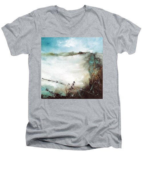 Abstract Barbwire Pasture Landscape Men's V-Neck T-Shirt by Michele Carter