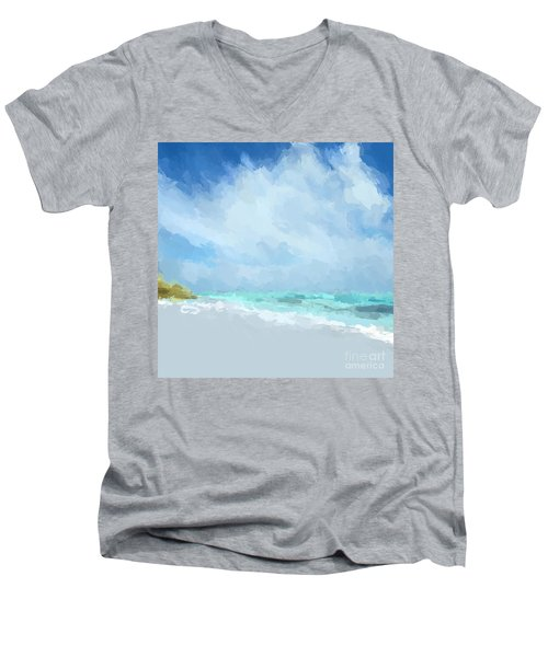 Abstract Beach Afternoon  Men's V-Neck T-Shirt by Anthony Fishburne