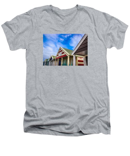 Abstract Beach Huts Men's V-Neck T-Shirt by David Warrington