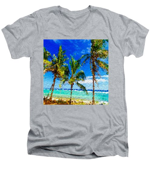 Abstract Beach Palmettos Men's V-Neck T-Shirt by Anthony Fishburne